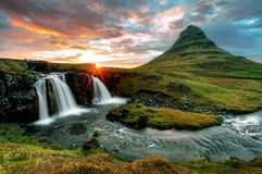 Iceland witžh waterfall and volcano stock photography