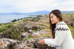 Iceland - woman looking at Thingvellir Althing Stock Photos