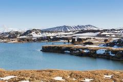 Iceland Wulkan jeziora naturalny przód i jasny niebieskiego nieba tło Zdjęcia Royalty Free