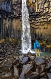Iceland - A young man standing in front of a Svartifoss waterfall stock images