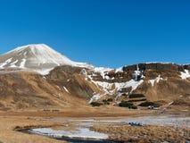 Iceland zachodni region w zimie, Snaefellsness półwysep, Hraunhofn teren, widzieć od drogi 54 zdjęcie royalty free