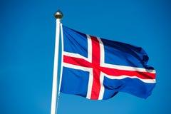 Iceland zaznacza Islandzką flaga - flaga Iceland - Zdjęcie Royalty Free