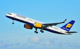 Icelandair Boeing 757. Taking off from Manchester Airport royalty free stock photos