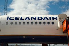 Icelandair logo an a plane Stock Photography
