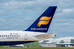Icelandair plane tail. MANCHESTER, UNITED KINGDOM - MAY 04, 2015: Icelandair Airlines Boeing 757 tail livery at Manchester Airport May 04 2015