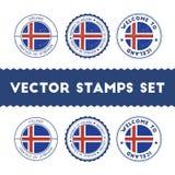 Icelander flag rubber stamps set. Royalty Free Stock Images