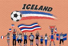 Icelander football fans cheering with Iceland flag colors in fro. Nt of soccer ball graffiti. All the objects are in different layers and the text types do not royalty free illustration