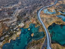 Icelandic aerial photography captured by drone. Beautiful landscape in the Myvatn lake in an area of active volcanism in the north of Iceland, near Krafla stock images