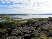 Icelandic Archipelago. Rocky plateau overlooking an archipelago in iceland Stock Photography