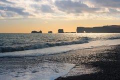 Icelandic black sand beach Stock Photos