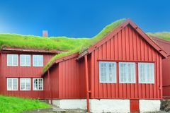 Icelandic Building with Grass Roof Royalty Free Stock Photo