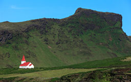 Icelandic church. On the blue sky Royalty Free Stock Photo