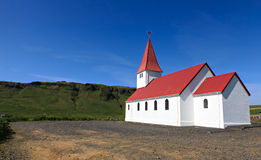 Icelandic church. On the blue sky Royalty Free Stock Images