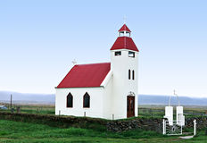 Icelandic church. On the blue sky Royalty Free Stock Image