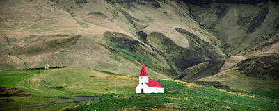 Icelandic church in field Stock Photos