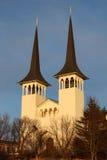 Icelandic church at sunset Royalty Free Stock Image