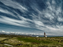 Icelandic church under cloudy skies Royalty Free Stock Photography