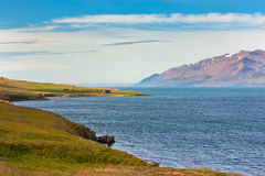 Icelandic Coastline landscape under a blue summer sky Royalty Free Stock Photos
