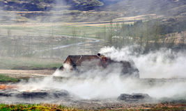 Icelandic farm house in the fog Stock Images
