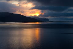 Icelandic Fjord in the dark period Royalty Free Stock Photography