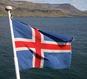 Icelandic Flag. Flying on boat Royalty Free Stock Photos