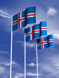 Icelandic flag. The flag of Iceland flying in a gentle breeze vector illustration