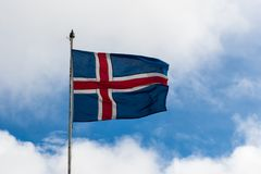 Icelandic Flag blowing in the sunshine Royalty Free Stock Photo
