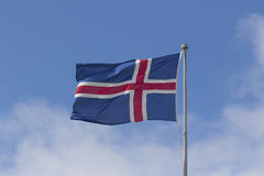 Icelandic Flag blowing in the wind Stock Photography