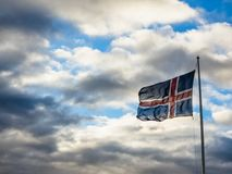 Icelandic Flag Briskly Blowing Royalty Free Stock Photo