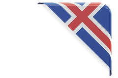Icelandic flag corner, button. 3D rendering Royalty Free Stock Photography