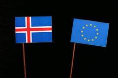 Icelandic flag with European Union EU flag  on black. Background Royalty Free Stock Photos