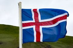 Icelandic flag in Heimaey, Westman Isles, Iceland Stock Image
