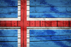 Icelandic flag painted on wooden boards Stock Photography