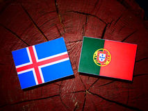 Icelandic flag with Portuguese flag on a tree stump isolated. Icelandic flag with Portuguese flag on a tree stump royalty free illustration