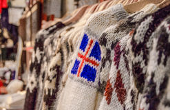 Icelandic flag. A woolen pullover with a symbol of national flag Royalty Free Stock Images