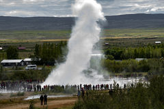 The Icelandic Geyser, Strokkur, erupting Royalty Free Stock Images