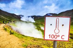 Icelandic geyser vapors and picturesque nature. Stock Photography