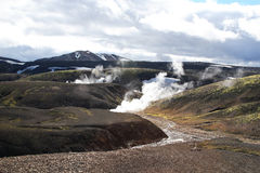 Icelandic Geysers. Geysers and a stream in a geothermal area in Iceland Royalty Free Stock Photos
