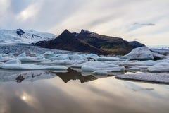 Icelandic glacier. Fjallsarlon at sunset Stock Photo