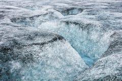 Icelandic glacier with zigzag fracture Stock Photos