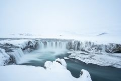 The Icelandic Godafoss in winter. Iceland is such a beautiful country but especially in winter it makes a dream come true for every photographer stock photo