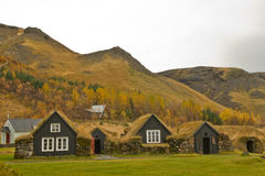 Icelandic grassroof houses Stock Images