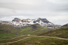 Icelandic gravel road through highlands Stock Photos
