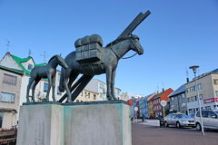 Icelandic horse monument in Reykjavik Stock Photos