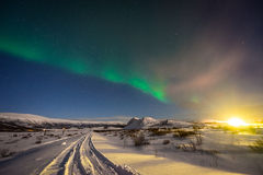 Northern Lights in Winter in Iceland Stock Photo