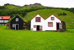 Icelandic houses. Typical Icelandic houses with turf on the roof. Picture taken in Skógar (South Iceland Royalty Free Stock Photos