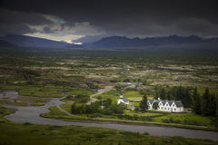 Icelandic houses and landscape Stock Photos