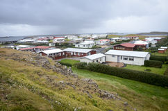 Icelandic houses. Modern icelandic houses in the western part of Iceland on the coast of Atlantic ocean Royalty Free Stock Photography