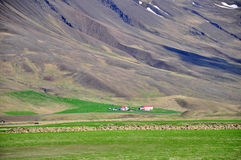 Icelandic houses and mountains Stock Photo