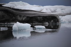 Icelandic ice. Jokulsarlon lagoon with floating ice Royalty Free Stock Photo